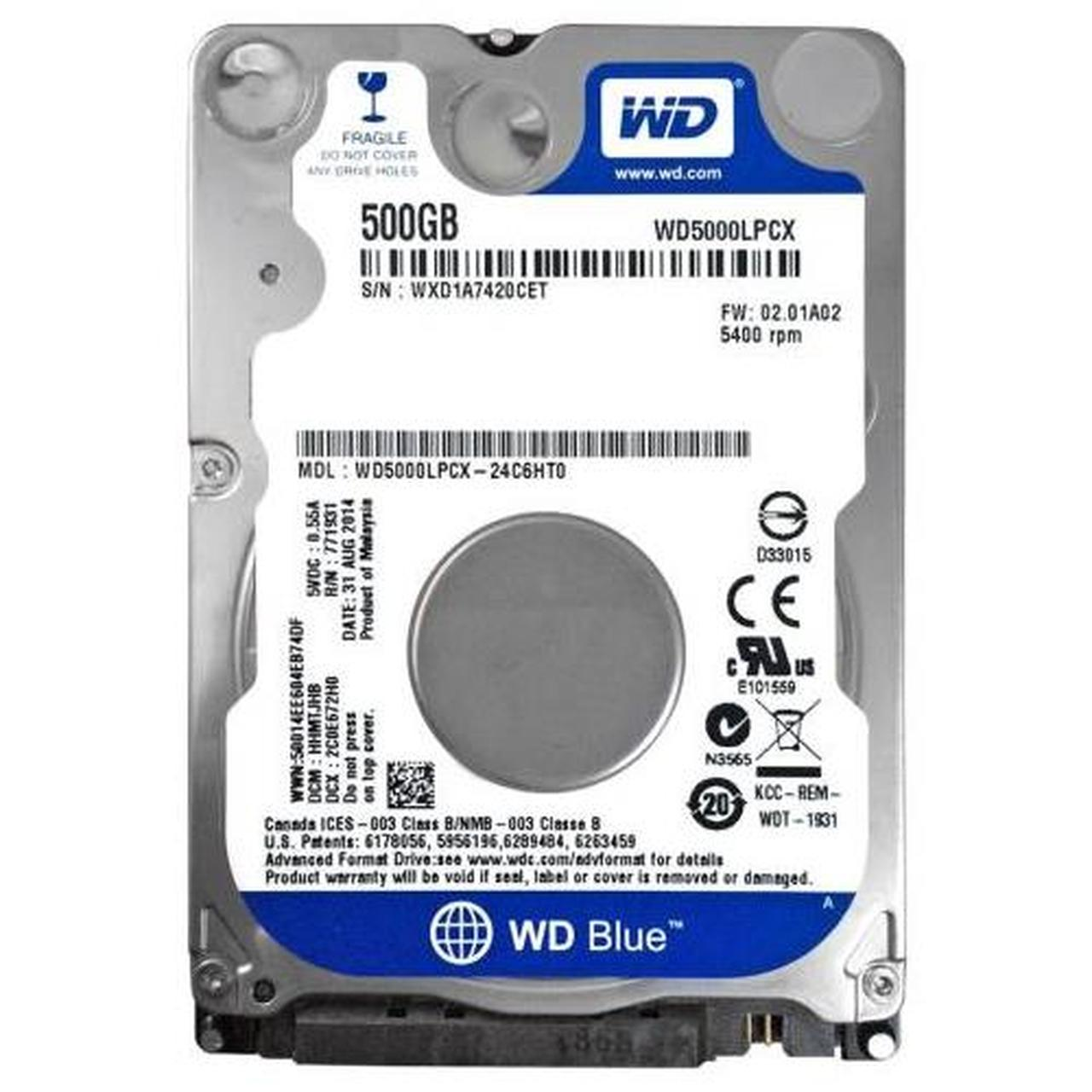 "WD 500GB 2.5"" 5400RPM 16MB SATA3 NOTEBOOK DİSKİ BLUE WD5000LPCX 7mm"