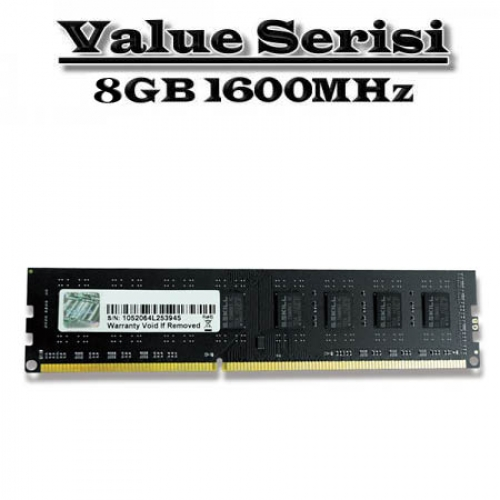 GSKILL 8GB DDR3 1600MHZ CL11 PC RAM VALUE F3-1600C11S-8GNT