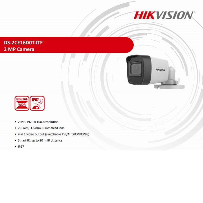HIKVISION 4in1 Bullet 2mp 3.6mm DS-2CE16D0T-ITF 30metre AHD Kamera