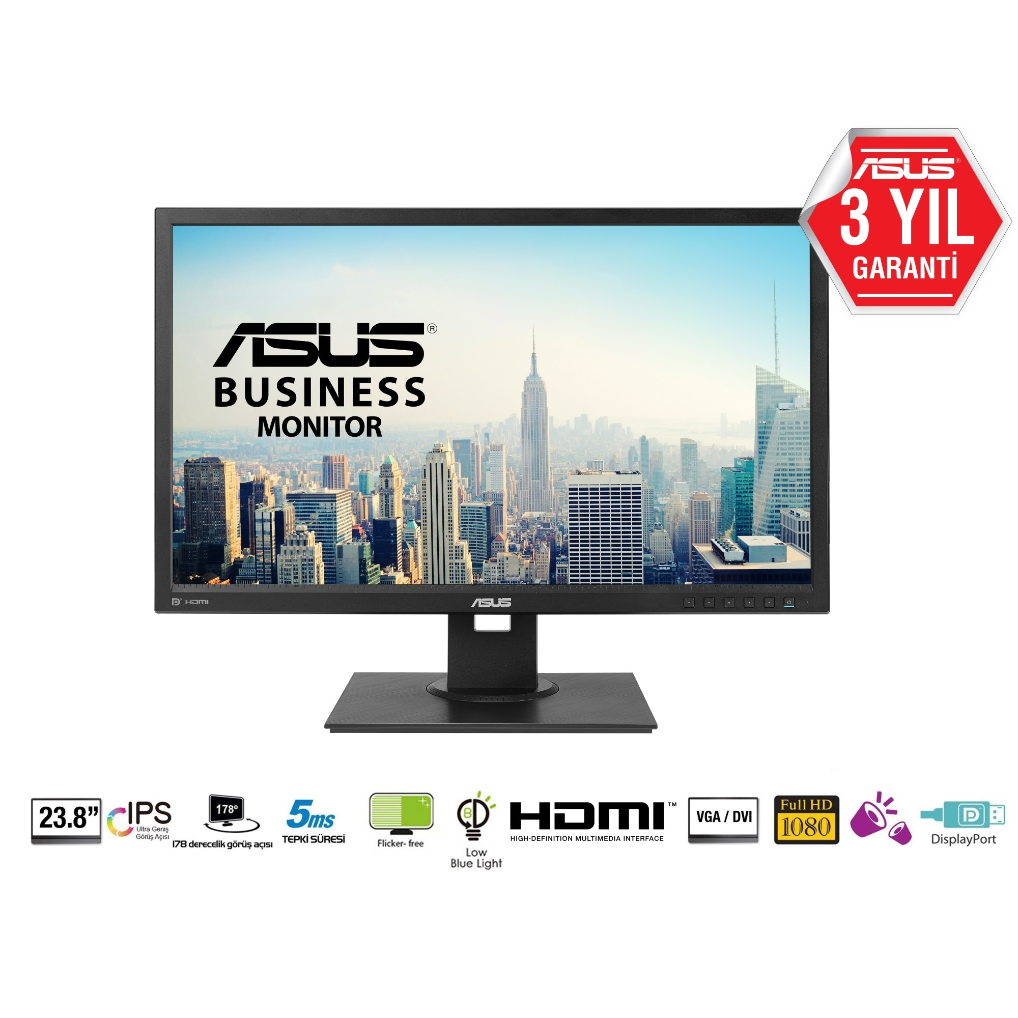 "ASUS 23.8"" IPS BE249QLBH 5MS 60Hz DVI-HDMI-DP EV Ofis Tipi Monitör (1920 X 1080)"
