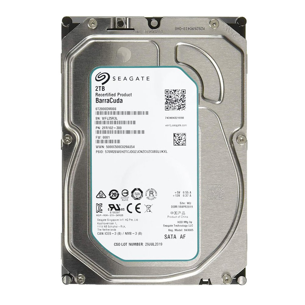 SEAGATE BARRACUDA ST2000DM008 2TB 3.5 7200 RPM 256MB SATA-3 RECERTEFIED