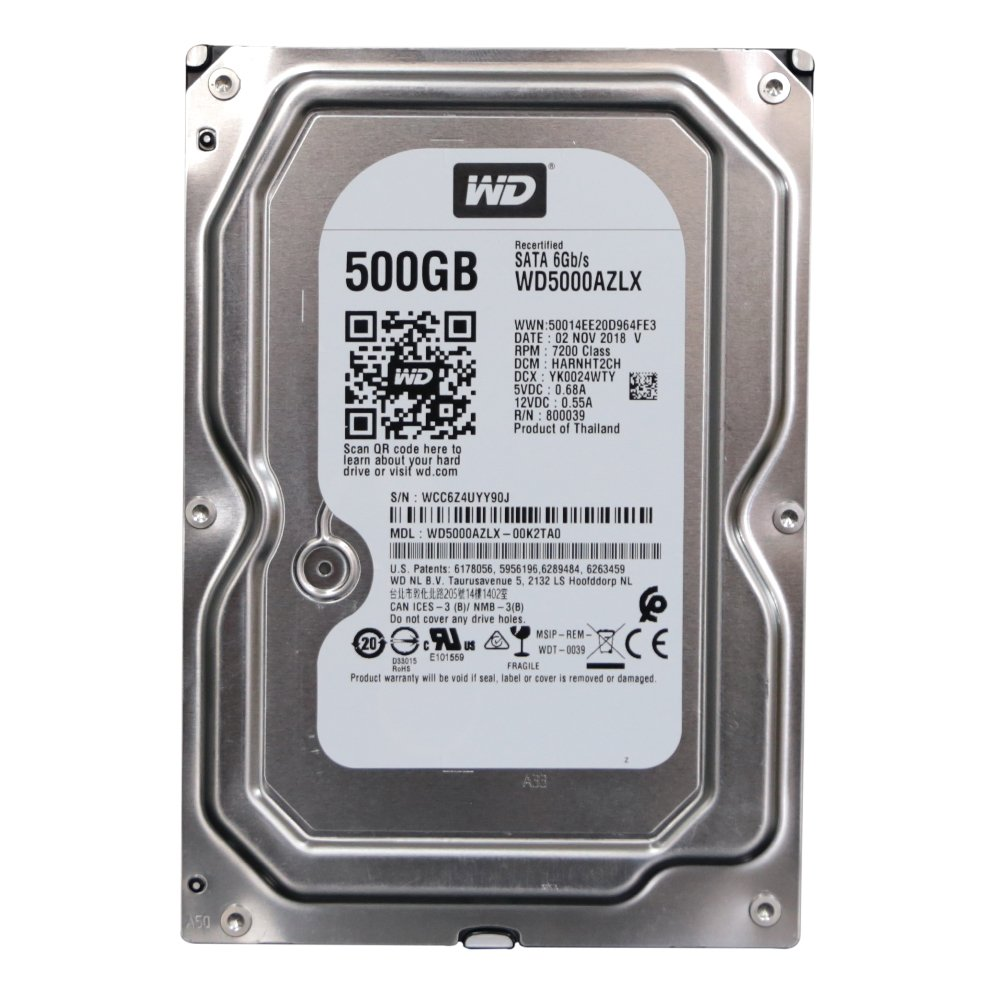 "WD Blue WD5000AZLX 500GB 3.5"" 7200 RPM 32MB SATA-3 RECERTEFIED"