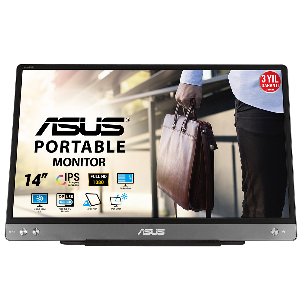 "ASUS 14"" IPS MB14AC 5MS 60Hz TYPE-C EV Ofis Tipi Monitör (1920 X 1080)"
