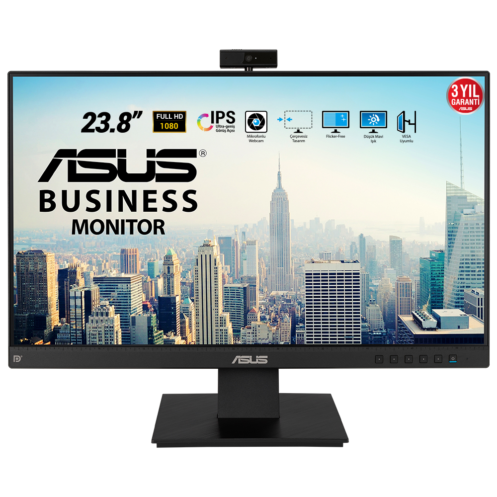 "ASUS 23.8"" IPS BE24EQK 5MS 60Hz HDMI-DP EV Ofis Tipi Monitör (1920 X 1080) Web Kameralı"