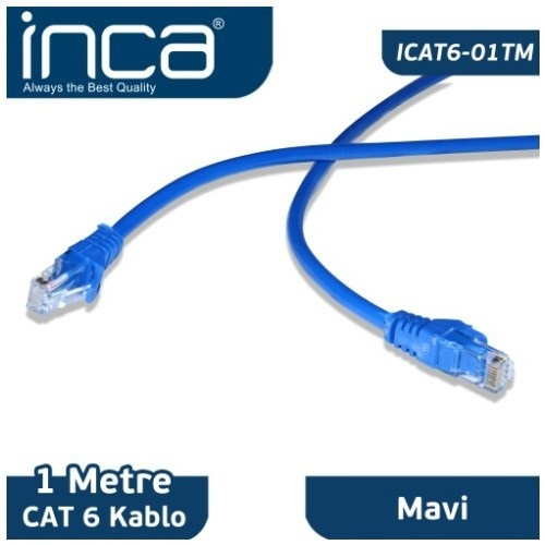 INCA 1m CAT6 Utp ICAT6-01TM Gri Patch Kablo