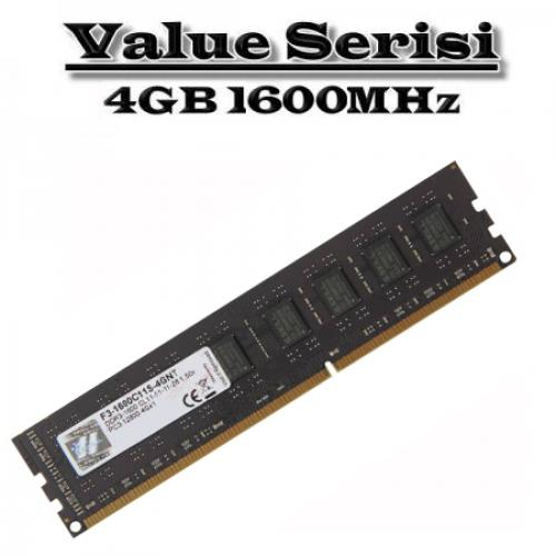 GSKILL 4GB DDR4 1600MHZ CL11 PC RAM VALUE F3-1600C11S-4GNT
